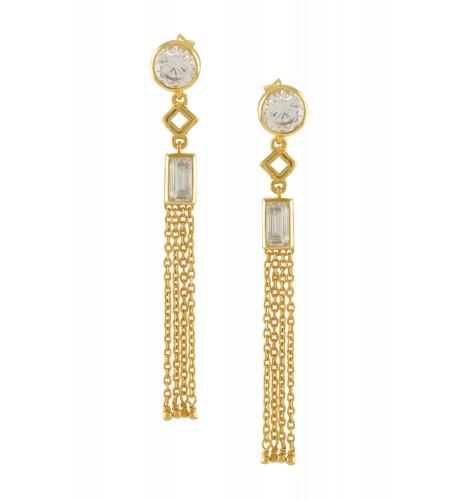 Silver Gold Plated Zircon Chain Tassel Earrings