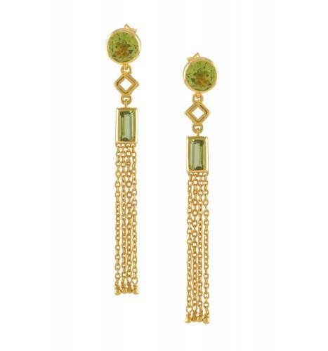 Silver Gold Plated Peridot Chain Tassel Earrings