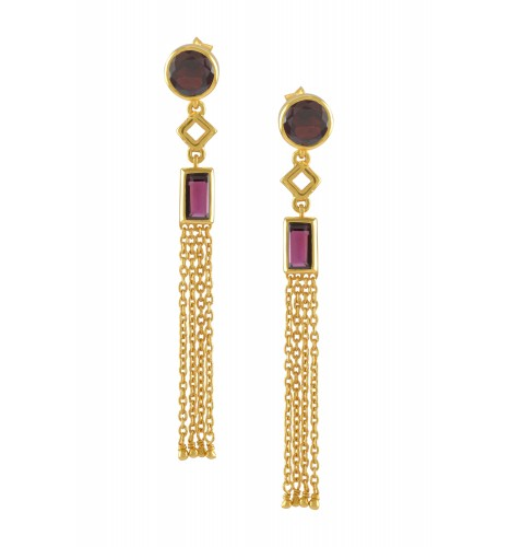 Silver Gold Plated Garnet Chain Tassel Earrings