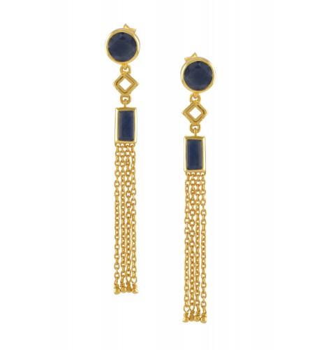 Silver Gold Plated Blue Sapphire Chain Tassel Earrings