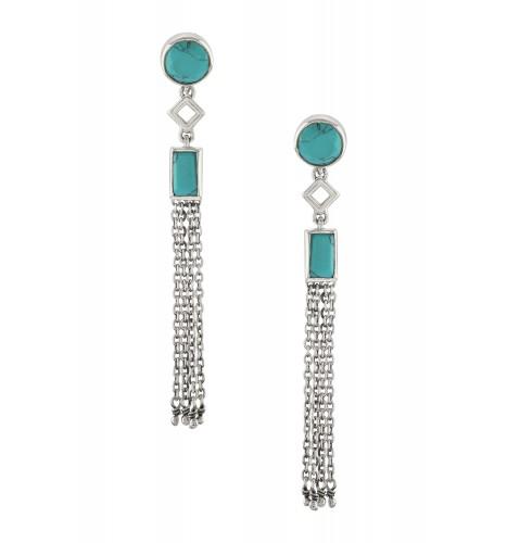 Silver Turquoise Chain Tassel Earrings