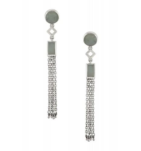 Silver Aquamarine Chain Tassel Earrings