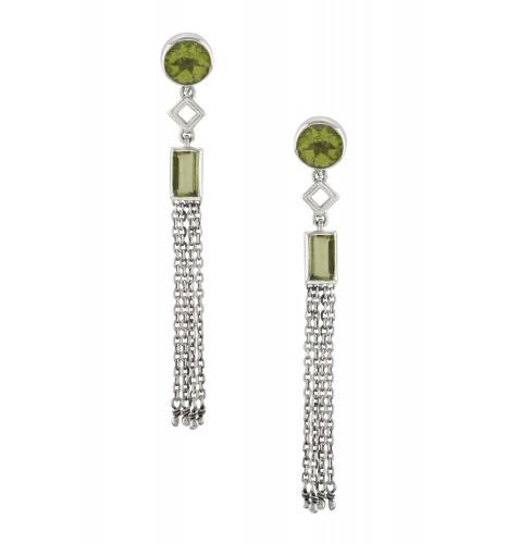 Silver Peridot Chain Tassel Earrings