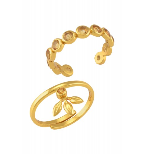 Silver Gold Plated Citrine Rings (Set of 2)
