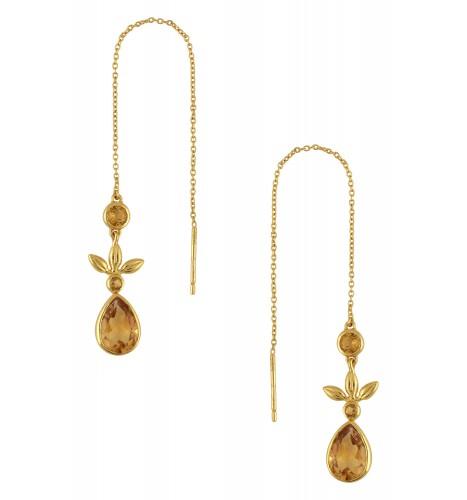 Silver Gold Plated Citrine Flower Threader Earrings