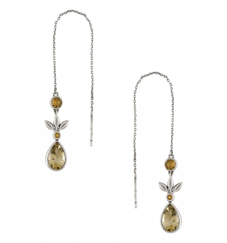 Silver Citrine Flower Threader Earrings