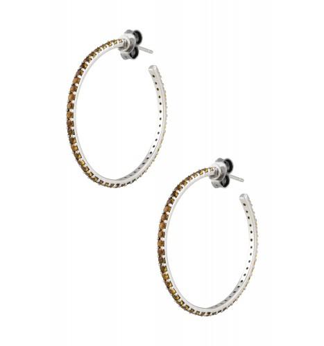 Silver Citrine Hoop Earrings