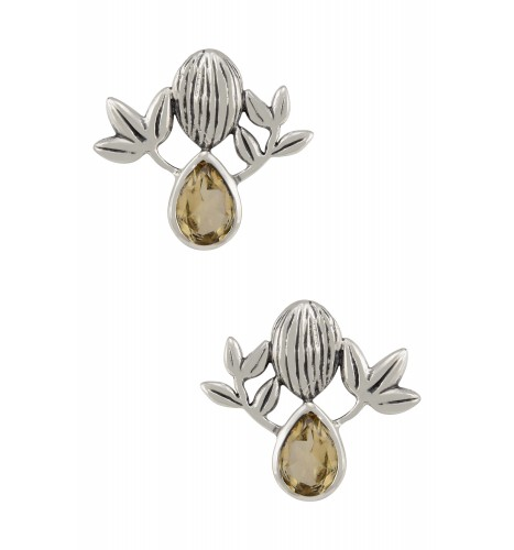 Silver Citrine Textured Floral Ear Studs