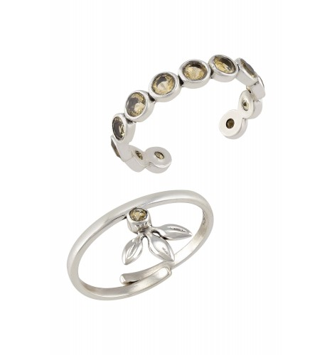 Silver Citrine Rings (Set of 2)