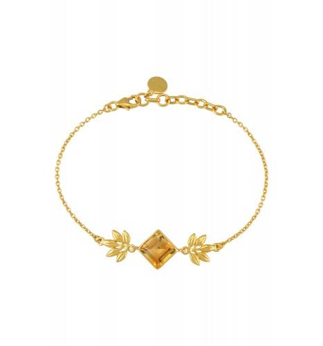Silver Gold Plated Square Citrine Floral Bracelet