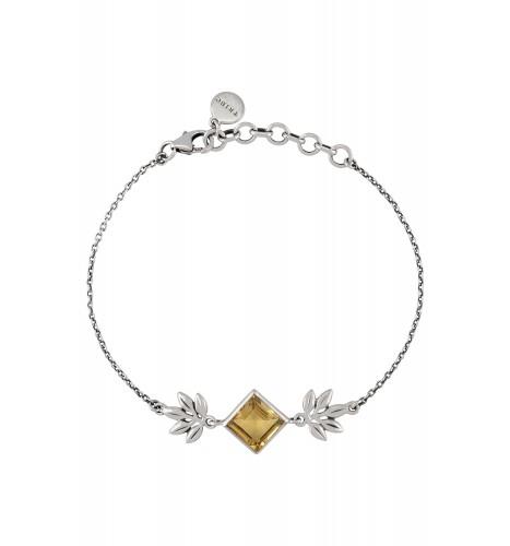 Silver Square Citrine Floral Bracelet