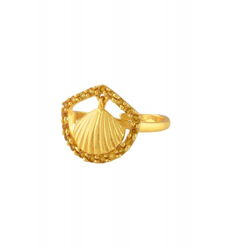 Silver Gold Plated Shell Charm Citrine Ring
