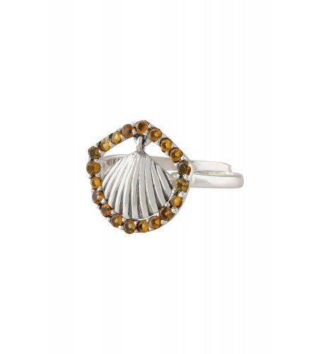 Silver Shell Charm Citrine Ring