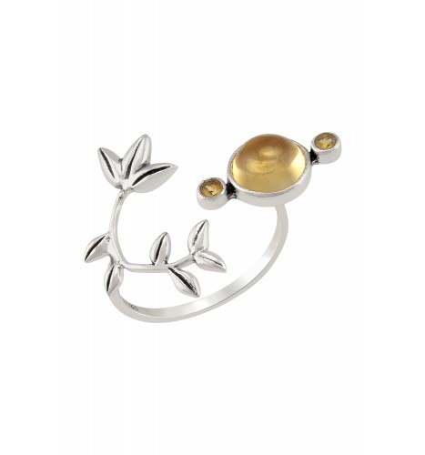 Silver Citrine Flowery Ring