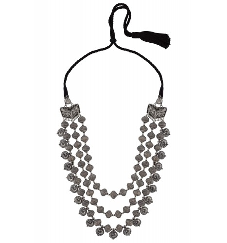 Silver Peacock Rawa Textured Bead Thread Necklace