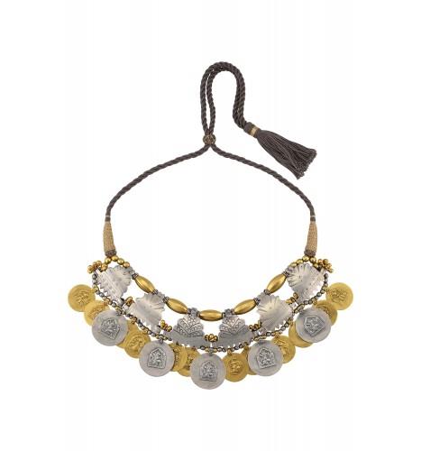 Silver Dual Tone God Goddess Motif Thread Necklace