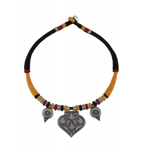 Silver Oxidised Floral Motif Colorful Thread Necklace