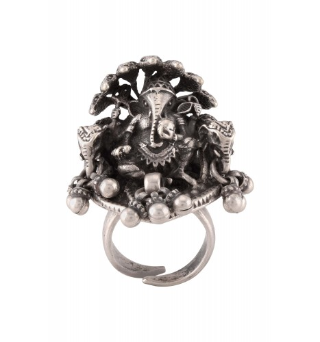 Silver Oxidised Crowned Ganesha Statement Ring