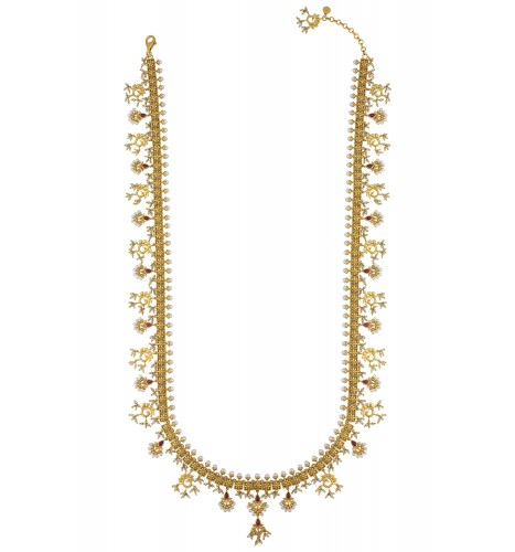 Silver Gold Plated Mayura Pearl Flower Long Necklace