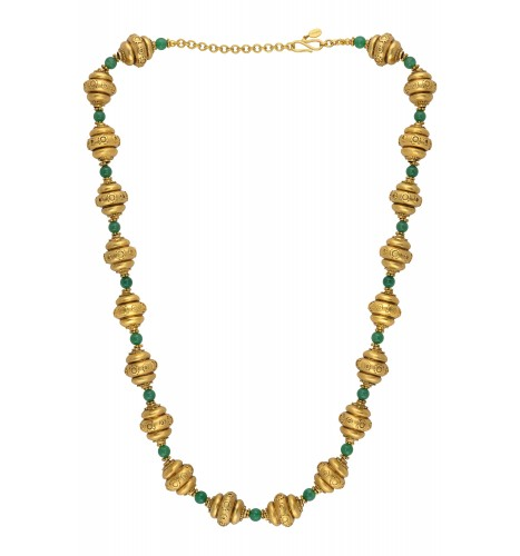 Silver Gold Plated Green Onyx Bead Necklace