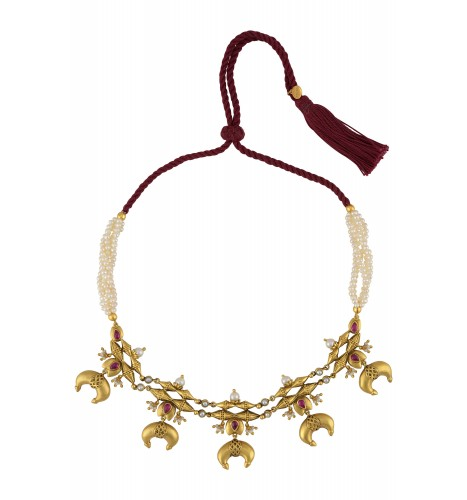 Silver Gold Plated Lotus Taveez Pearl Thread Necklace