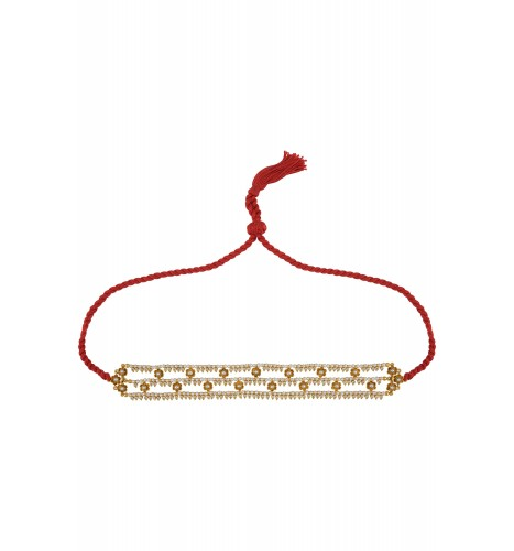 Silver Gold Plated Flower Pearl Glass Thread Choker