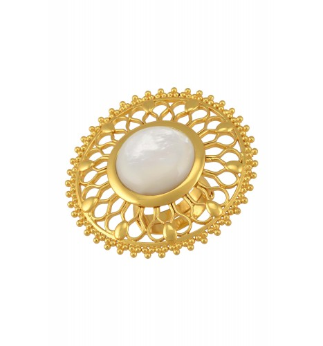 Silver Gold Plated Pearl Flower Ring