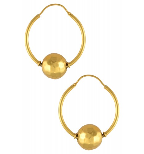 Silver Gold Plated Hammered Ball Hoops