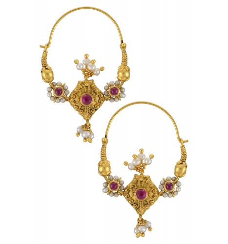 Silver Gold Plated Pearl Glass Filigree Baali Earrings