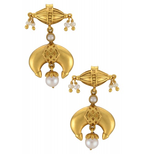 Silver Gold Plated Taveez Pearl Earrings