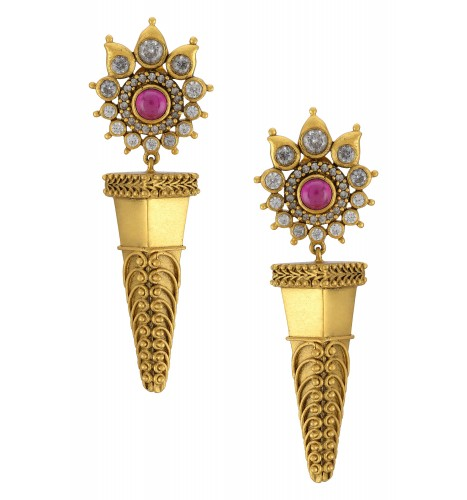 Silver Gold Plated Flower Filigree Rawa Spike Drop Earrings