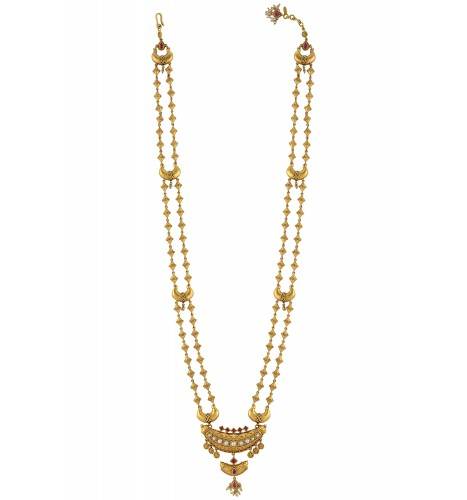 Silver Gold Plated Rawa Bead Double Strand Taveez Necklace
