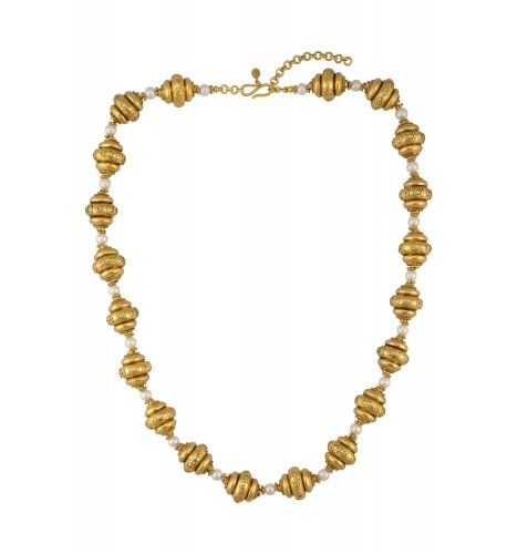 Silver Gold Plated Pearl Bead Necklace