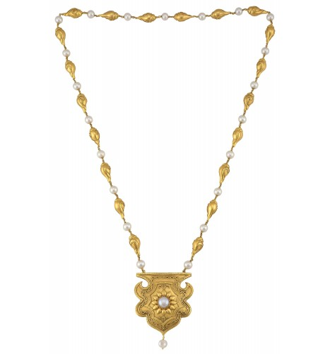 Silver Gold Plated Pearl Shankh Floral Jaali Pendant Necklace