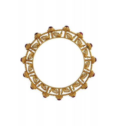 Silver Gold Plated Pink Glass Mayura Bangle