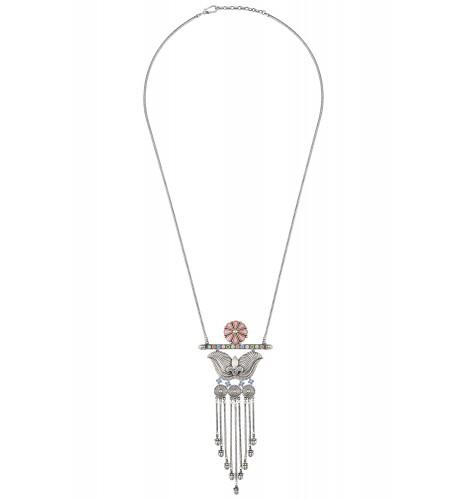 Pink Flower Coin Tassel Necklace