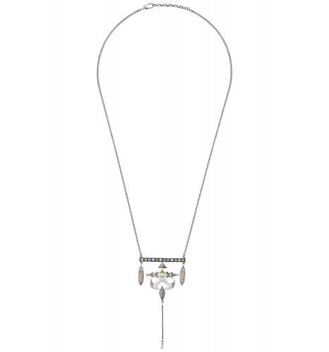Multi Enamel Pagoda Tassel Taveez Necklace