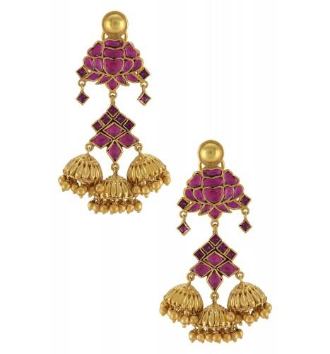 Silver Gold Plated Pink Lotus Jhumki Earrings