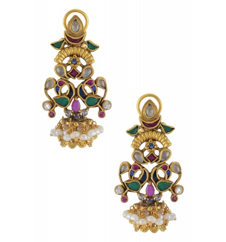 Silver Gold Plated Multi Colored Glass Mayura Lotus Earrings