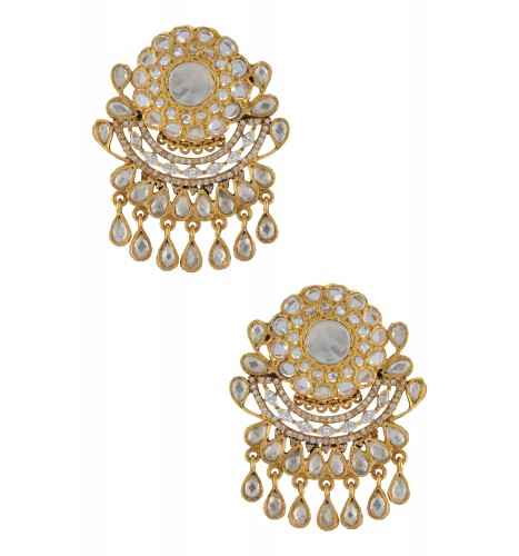 Silver Gold Plated Shimmering Floral Earrings