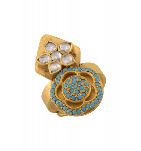 Silver Gold Plated White Blue Glass Flower Ring