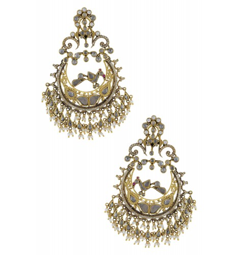 Silver Gold Plated Shimmering Peacock Chaandbali Earrings