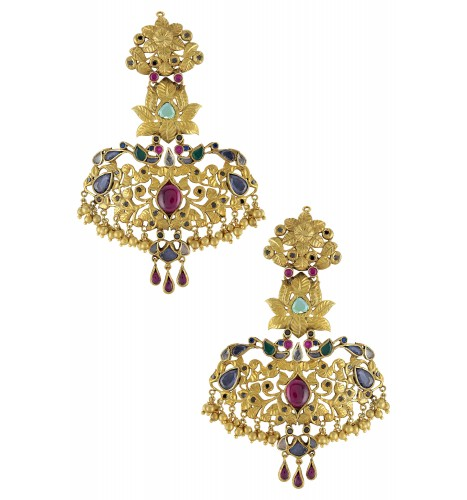 Silver Gold Plated Peacock Lotus Statement Earrings