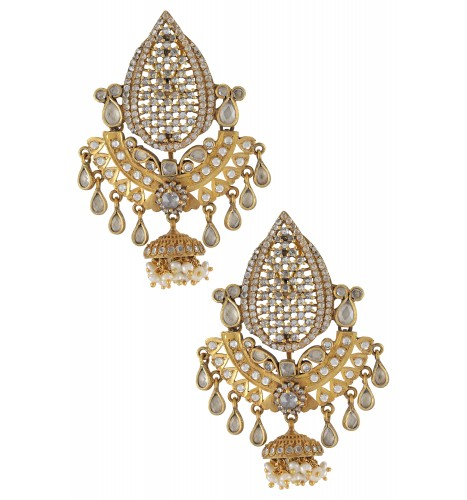 Silver Gold Plated Floral Glass Pearl Drops Jhumki Earrings