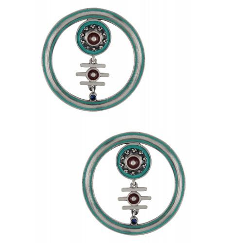 Turquoise Enamelled Round Hoop Third Eye Ear Studs