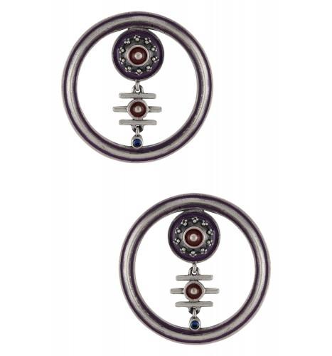 Purple Enamelled Round Hoop Third Eye Ear Studs