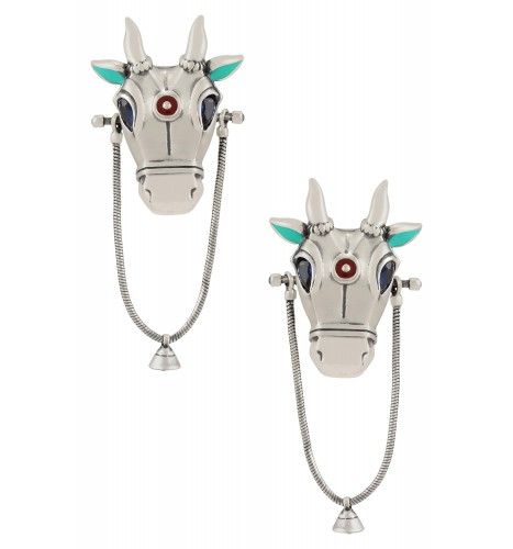 Turquoise Enamelled Silver Plated Nandi Bell Droplet Earrings