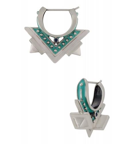 Turquoise Enamelled Edgy Hoop Earrings