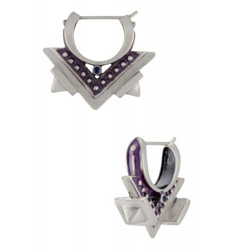 Purple Enamelled Edgy Hoop Earrings