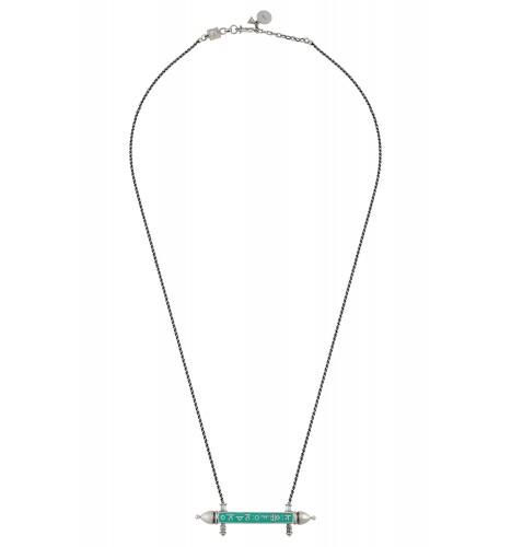 Turquoise Enamellled Taveez Mantra Necklace
